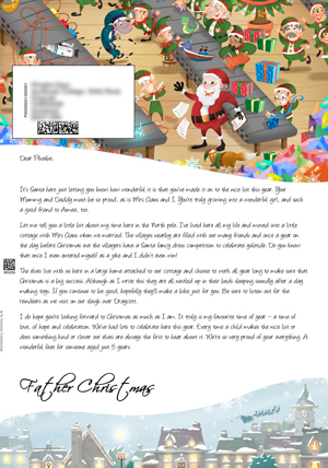 Santa in his workshop with elves - Personalised Santa Letter Background