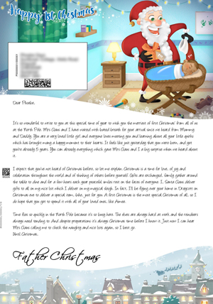 1st Christmas Cot Blue - Personalised Santa Letter Background