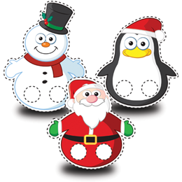 Snowman, Pengion and Santa Finger puppet cut outs